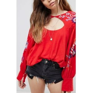 Free People Lita Embroidered Blouse